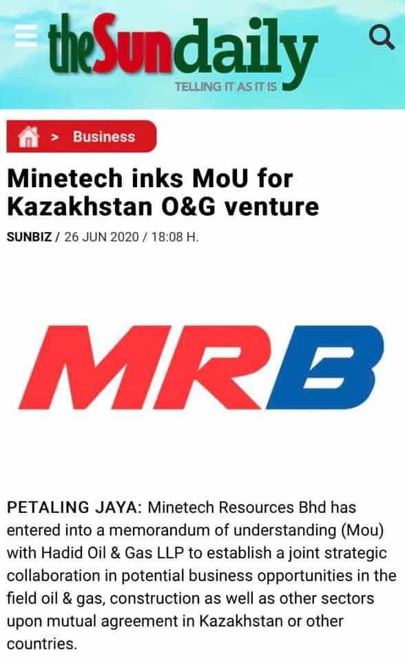Minetech Inks MoU For Kazakhstan O&G Venture